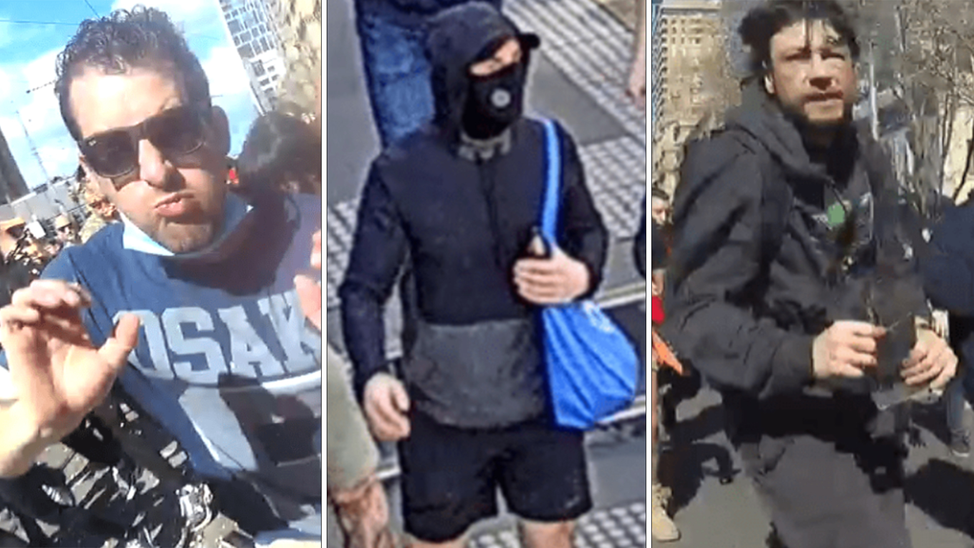 Police have released images of men they want to speak to after Melbourne's lockdown protests.