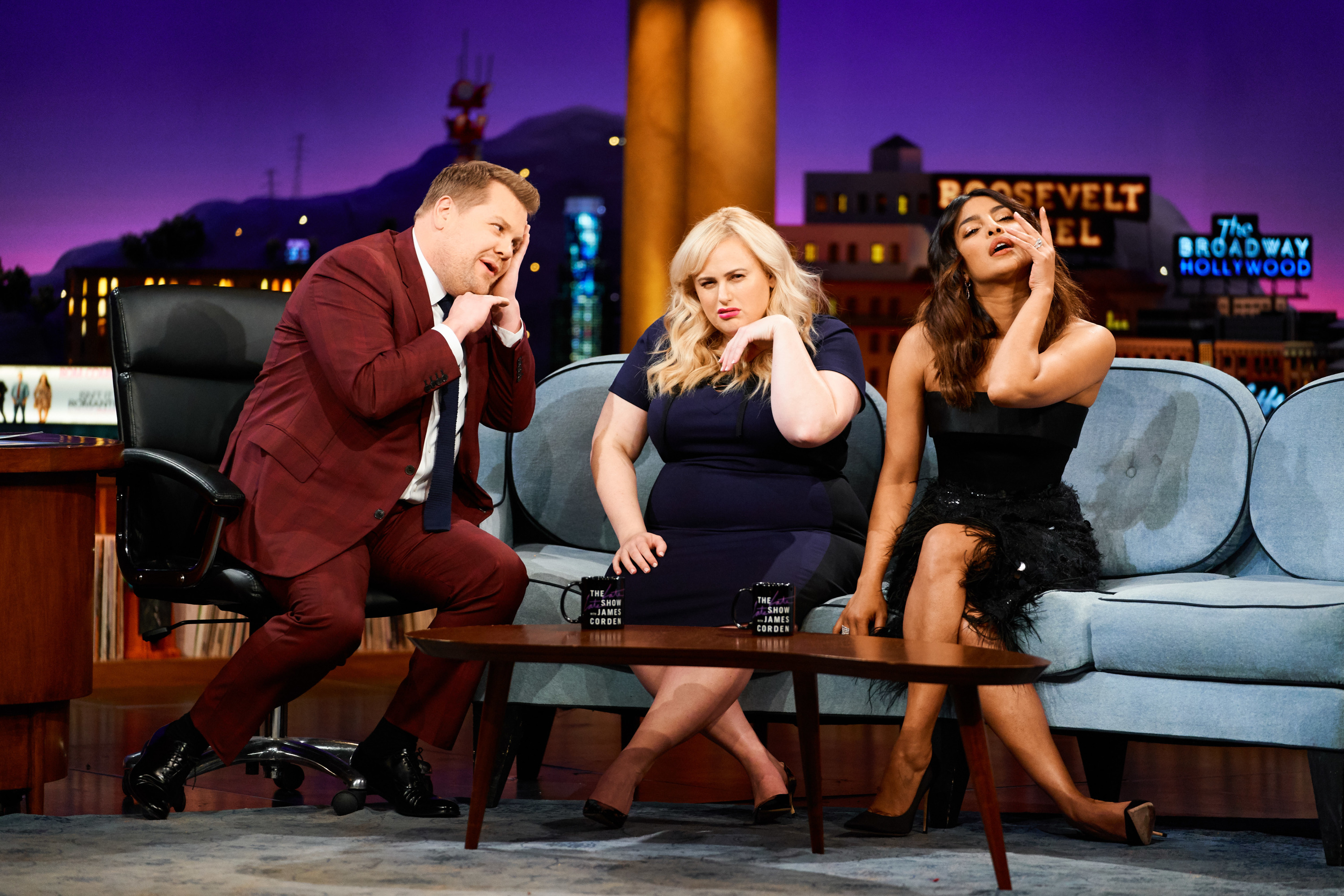 The Late Late Show with James Corden airing Tuesday, February 12, 2019, with guests Rebel Wilson, Priyanka Chopra Jonas, and magician Justin Flom.
