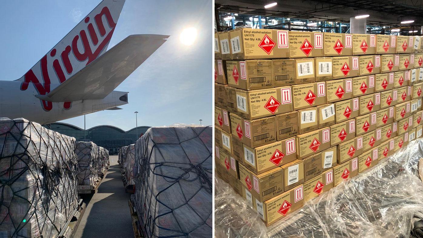700,000 bottles of hand sanitiser is set to arrive in Sydney today