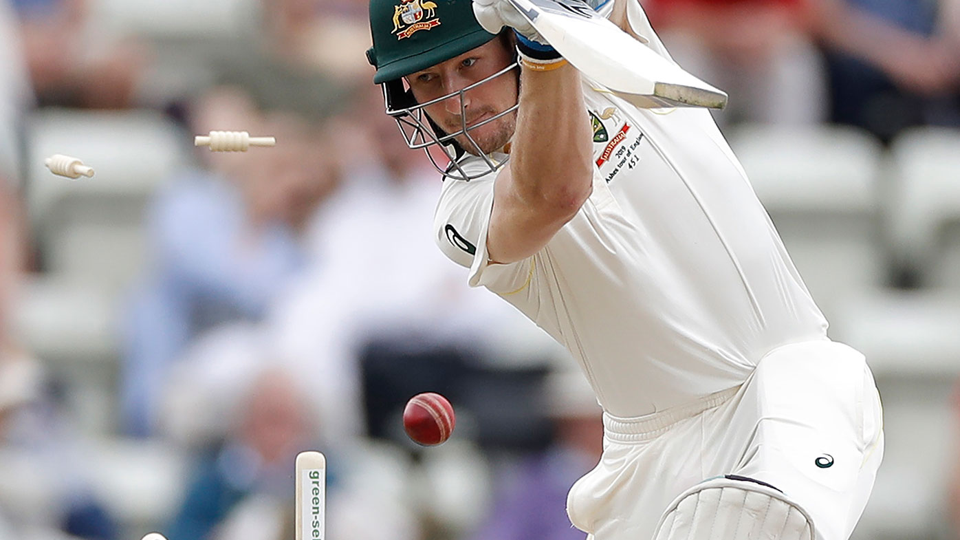 Cameron Bancroft is bowled during Australia's tour match against Worcestershire.