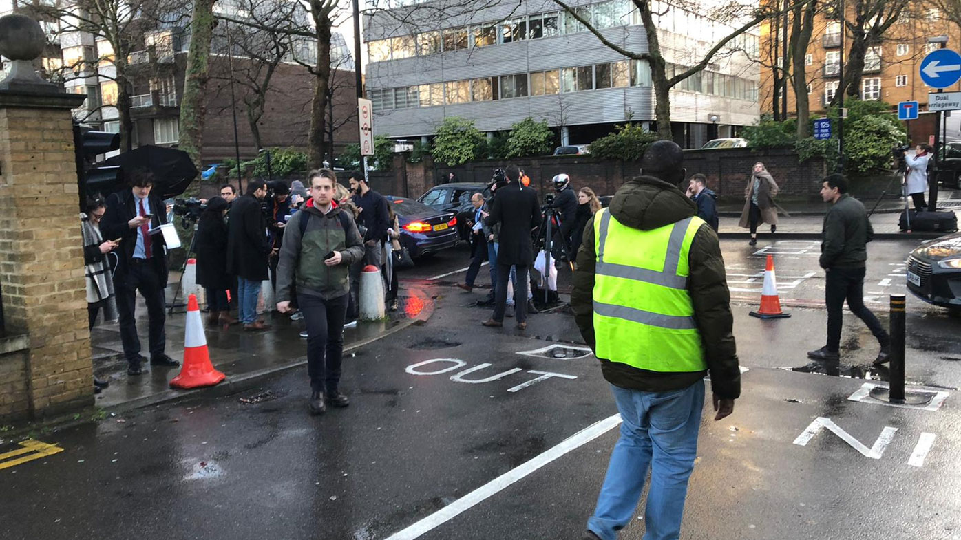 The scene outside London Central Mosque in Regent's Park, where police have arrested a man on suspicion of attempted murder, in London, Thursday, Feb. 20, 2020.