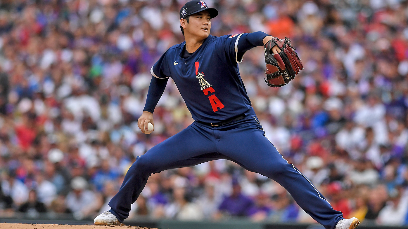 Shohei Ohtani of the Los Angeles Angels works against the National League during the first inning of the MLB All Star Game