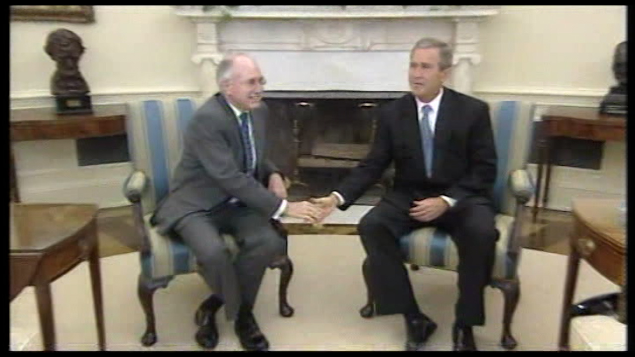 Mr Howard was in the US for meetings with President George W. Bush.