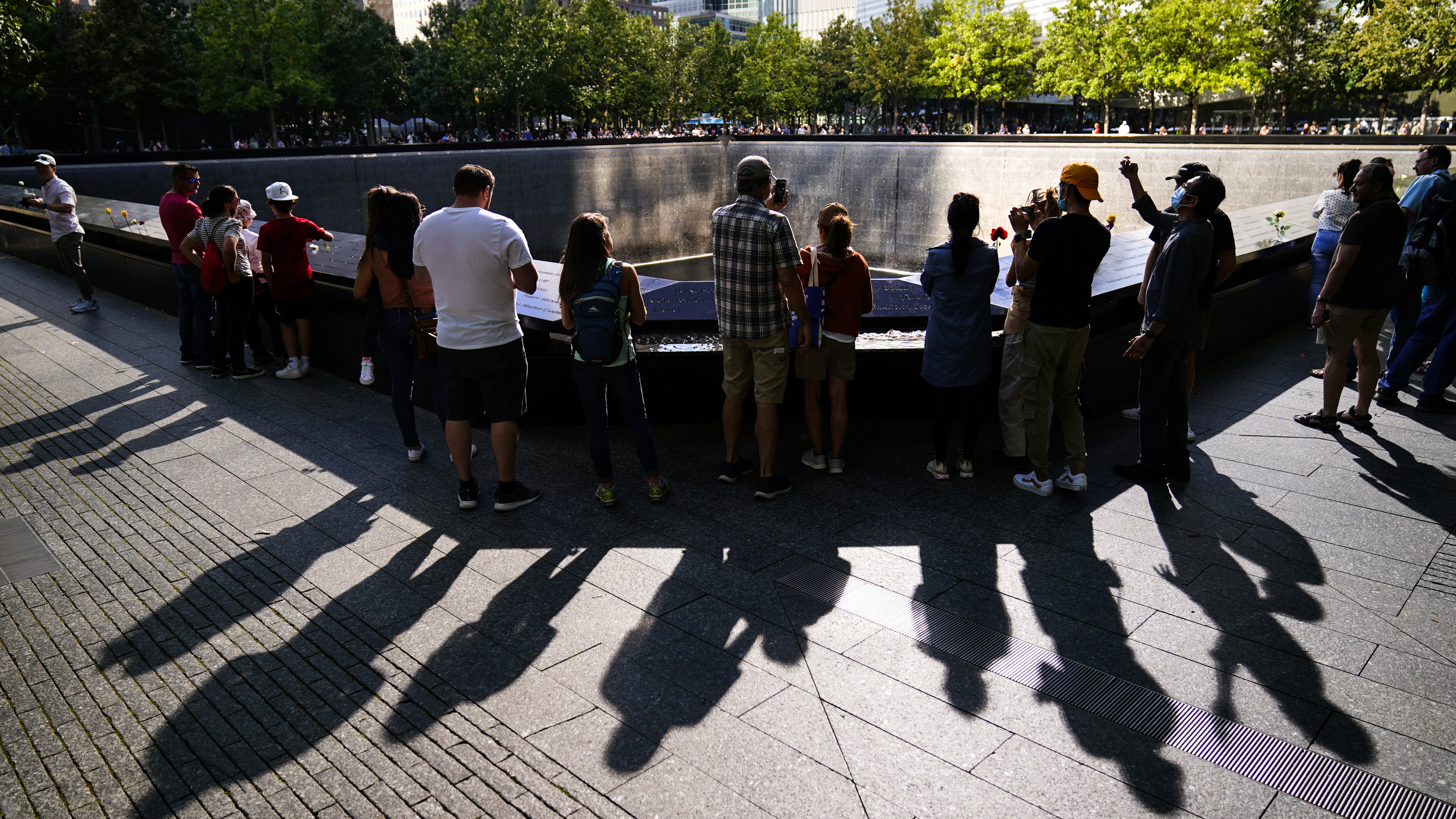 Police officers stand guard at the National September 11 Memorial and Museum