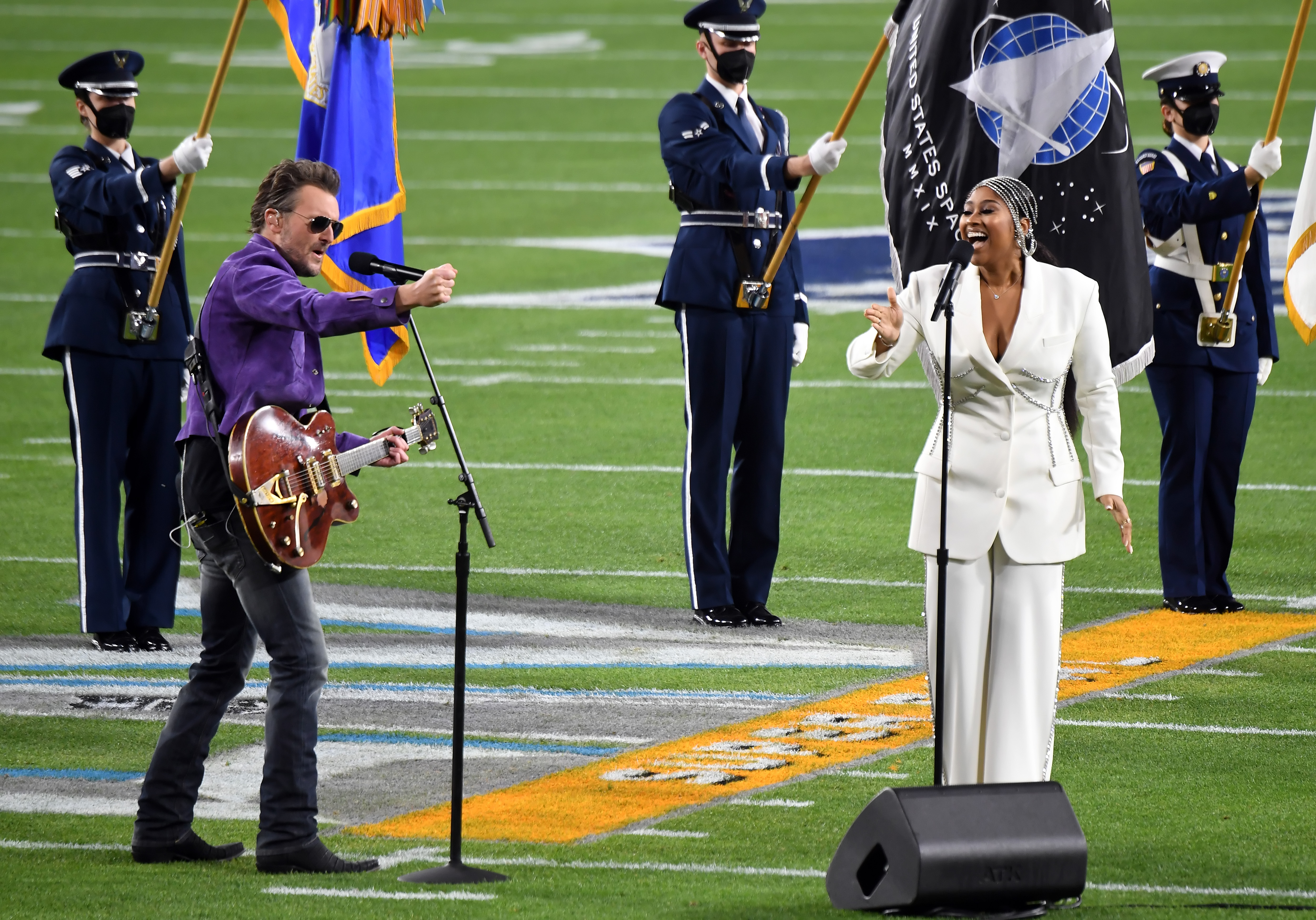 Eric Church and Jazmine Sullivan perform during the Super Bowl LV Pregame at Raymond James Stadium on February 07, 2021 in Tampa, Florida. (Photo by Kevin Mazur/Getty Images for TW)