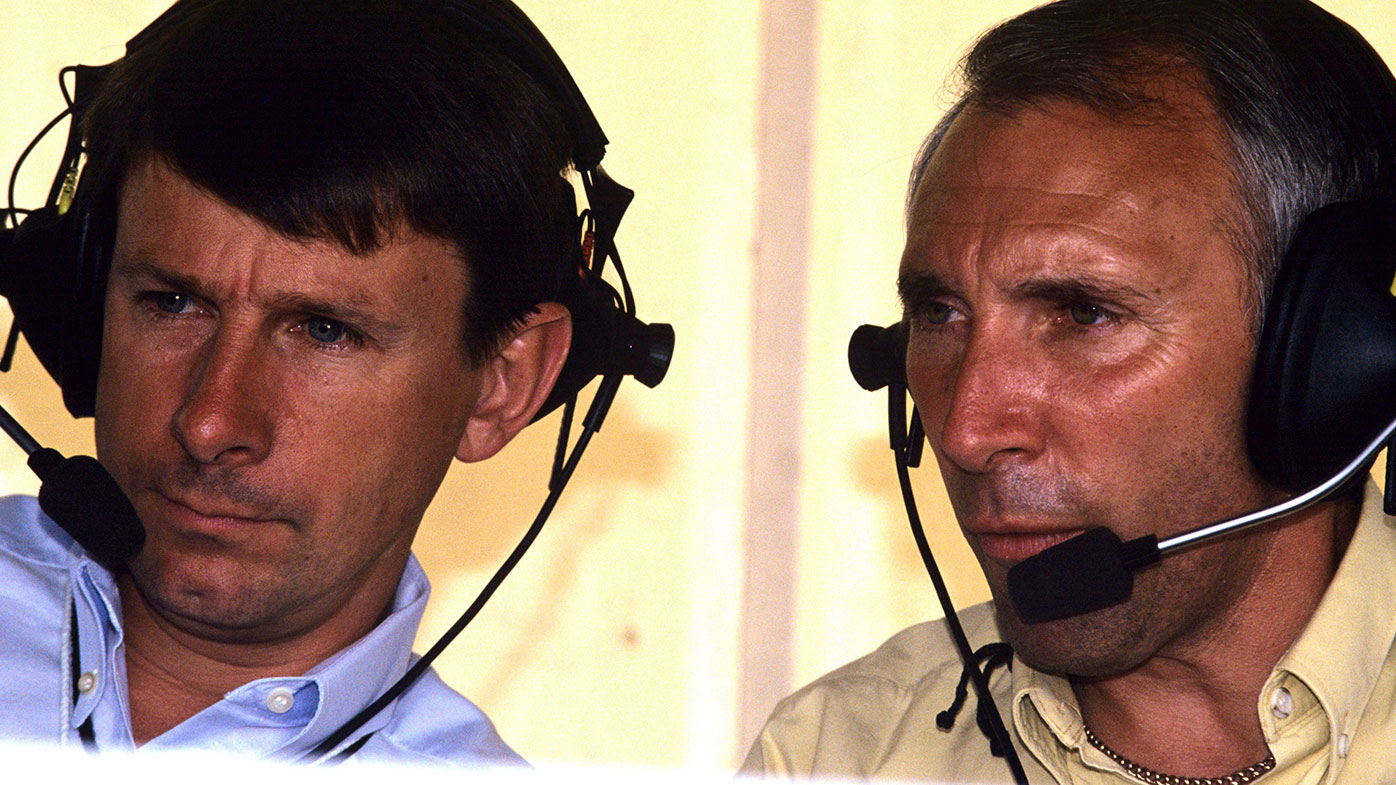 Phil Liggett (right) with long-time co-commentator Paul Sherwen.