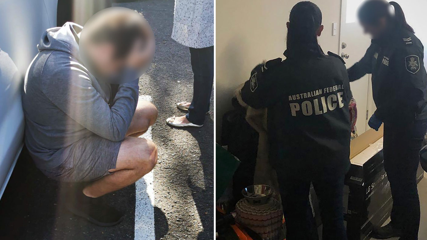A 30-year-old man (left) is arrested in Sydney, while AFP officers search a house (right).