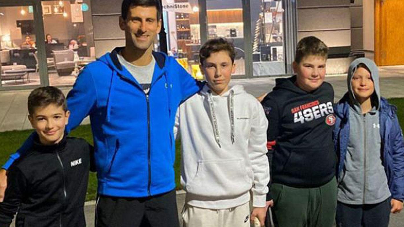Novak Djokovic Plays Street Tennis With Kids In Belgrade