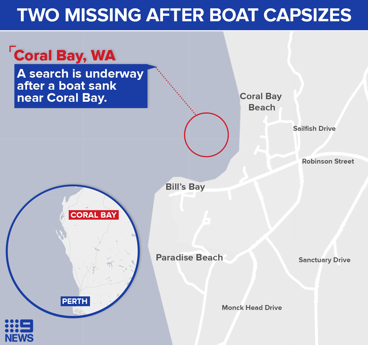 Coral Bay boat capsize two missing