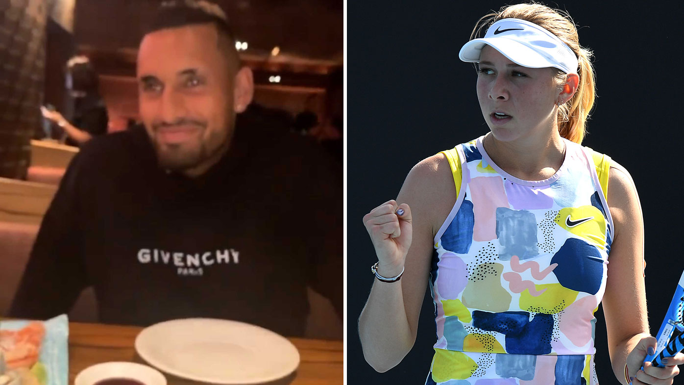 LIVE: Kyrgios spotted dining with Anisimova