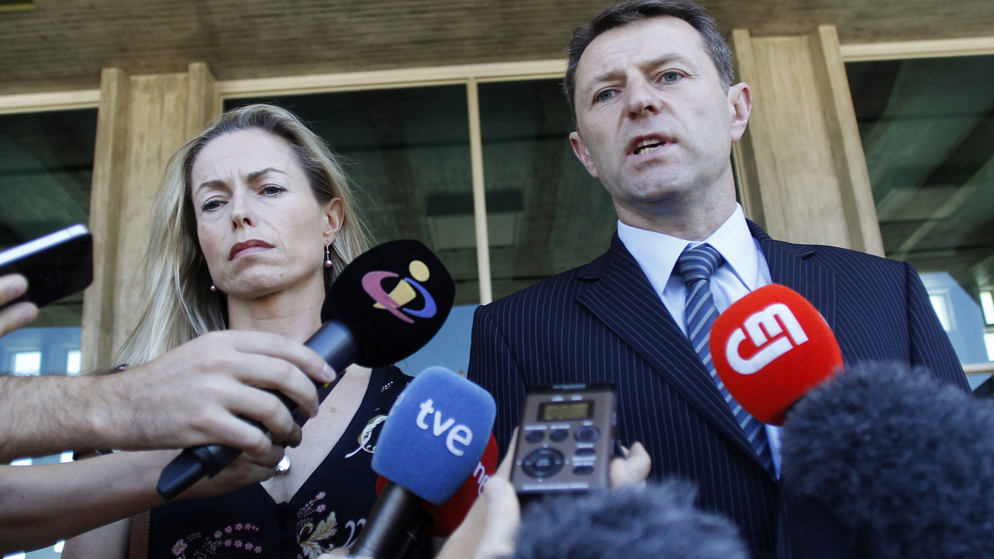In this 2014 photo,  Kate and Gerry McCann talk to the media outside a court in Lisbon.