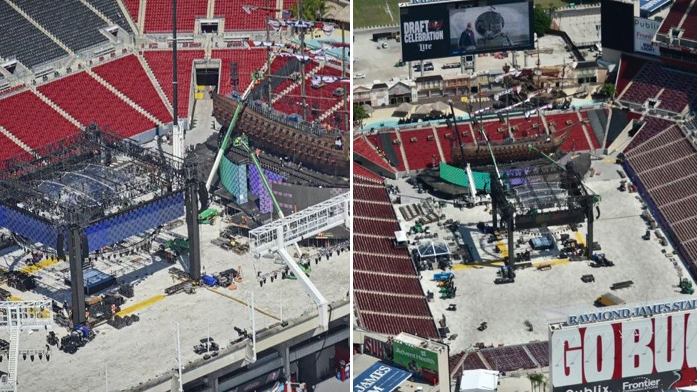 The set for WrestleMania 37 being built at Raymond James Stadium, Tampa, Florida, United States
