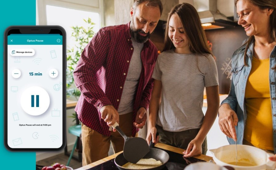 The Optus Pause function allows parents to enforce a 'time out' on devices