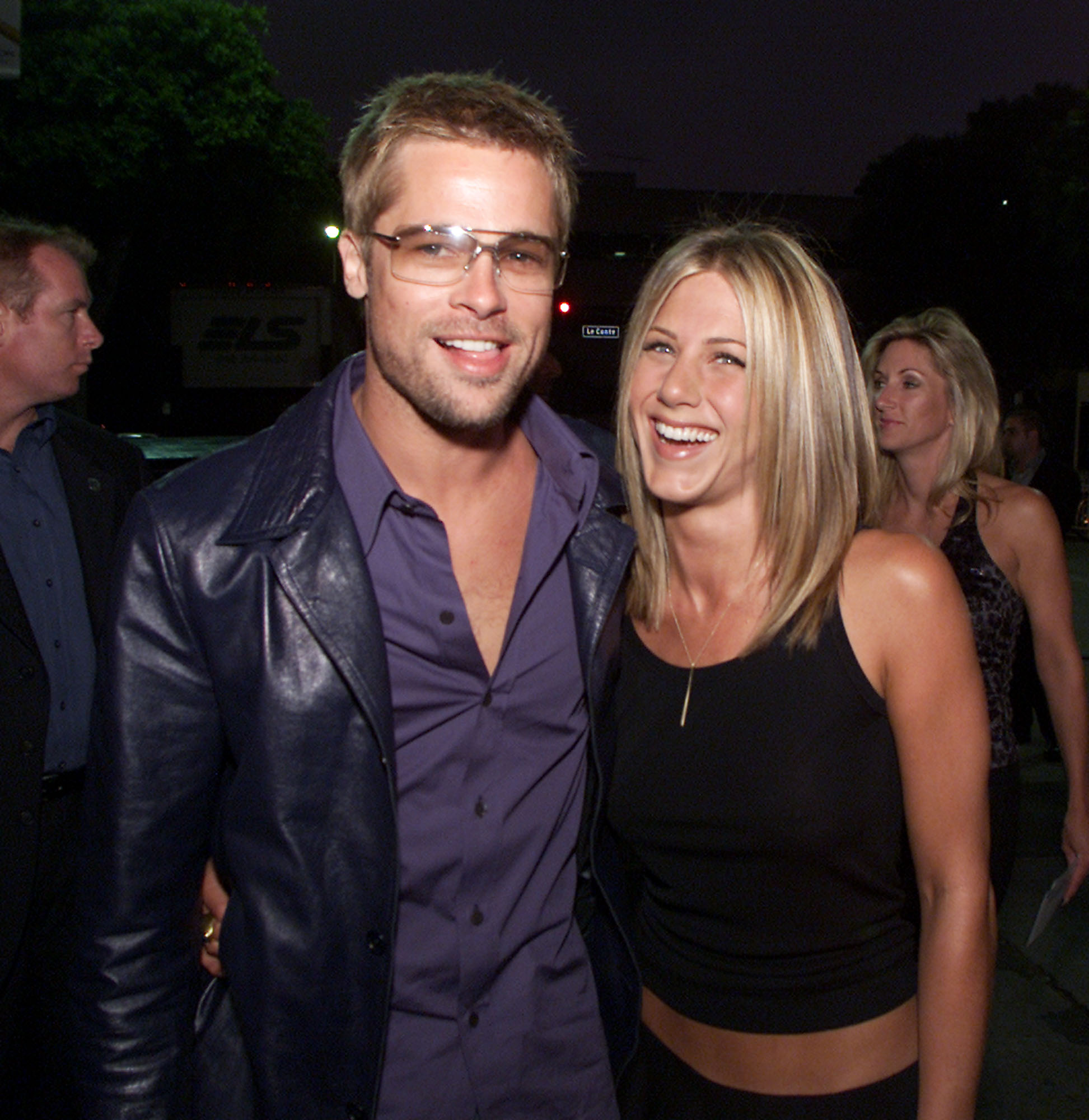 """Brad Pitt and Jennifer Aniston at the premiere of """"Rock Star"""" at the Mann Village Theater in Los Angeles."""