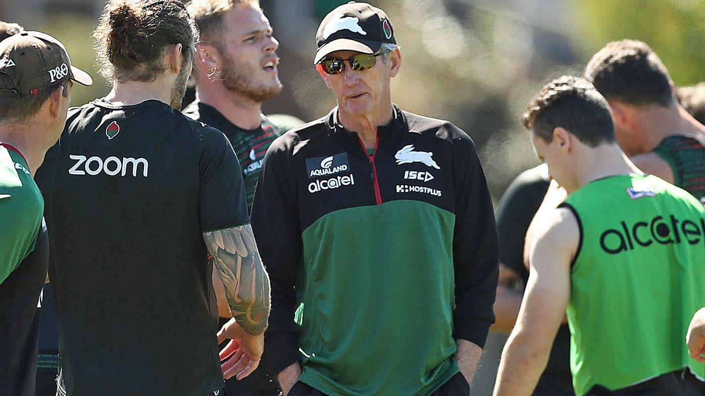 Rabbitohs coach Wayne Bennett talks to players during a South Sydney Rabbitohs