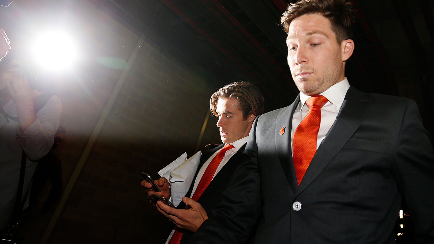 Toby Greene leaves the AFL Tribunal Hearing at AFL House