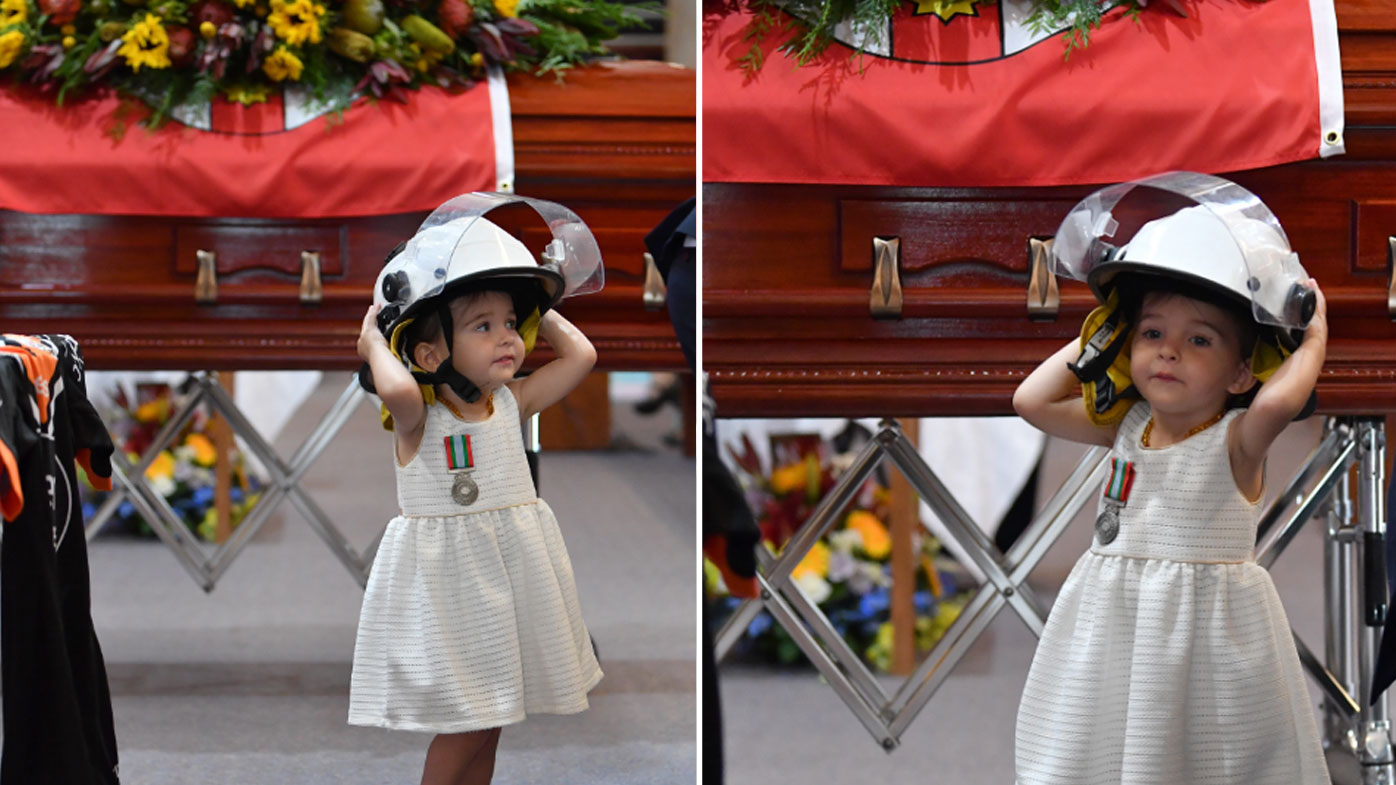 Andrew O'Dwyer's daughter at his funeral.