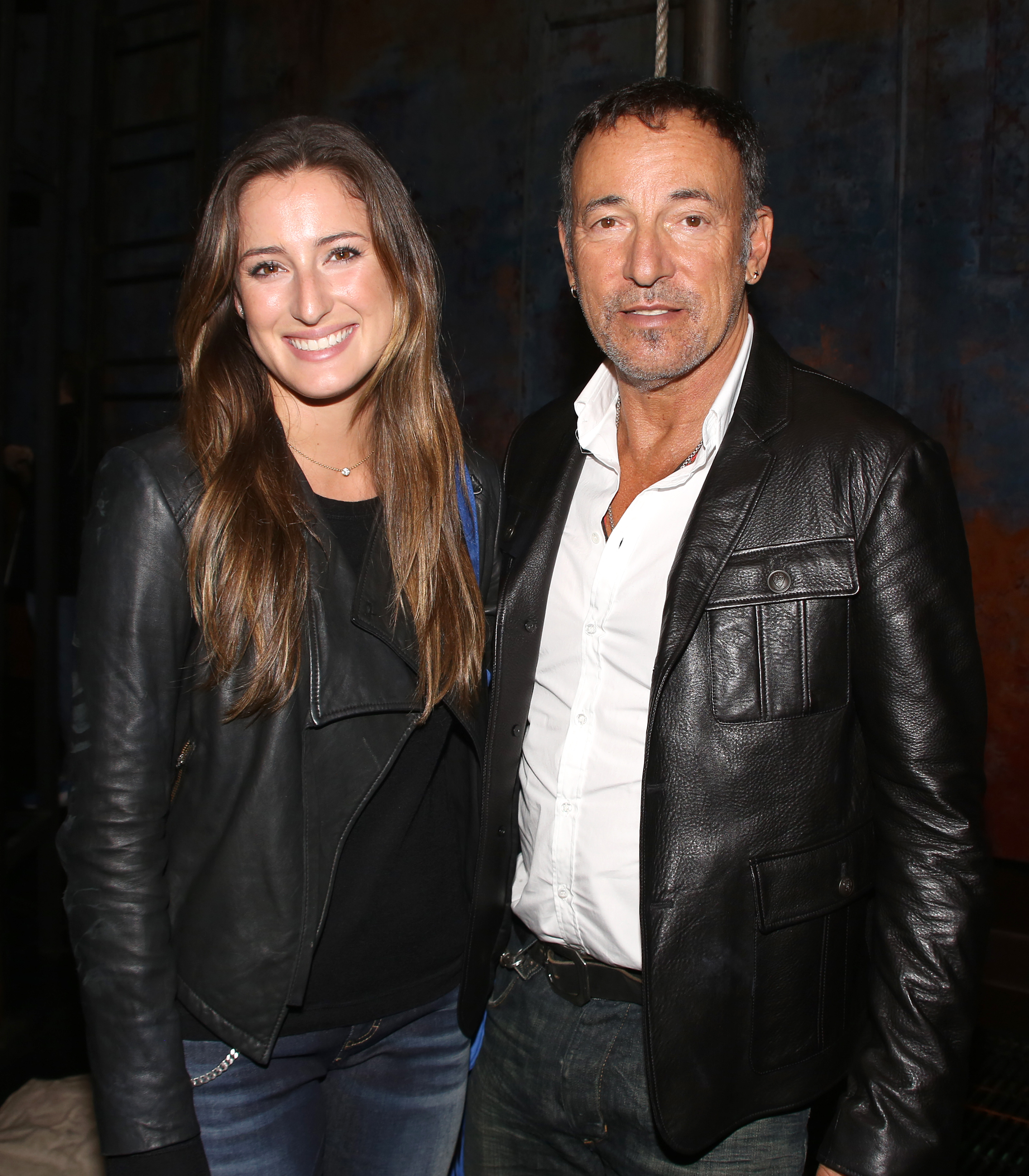 Jessica Springsteen and Bruce Springsteen backstage after a performance of 'The Last Ship' at the Neil Simon Theatre on October 15, 2014 in New York City.