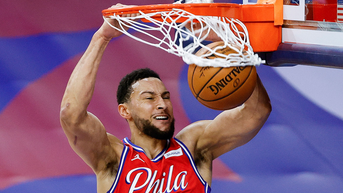 Ben Simmons throws it down against Boston. (Getty)