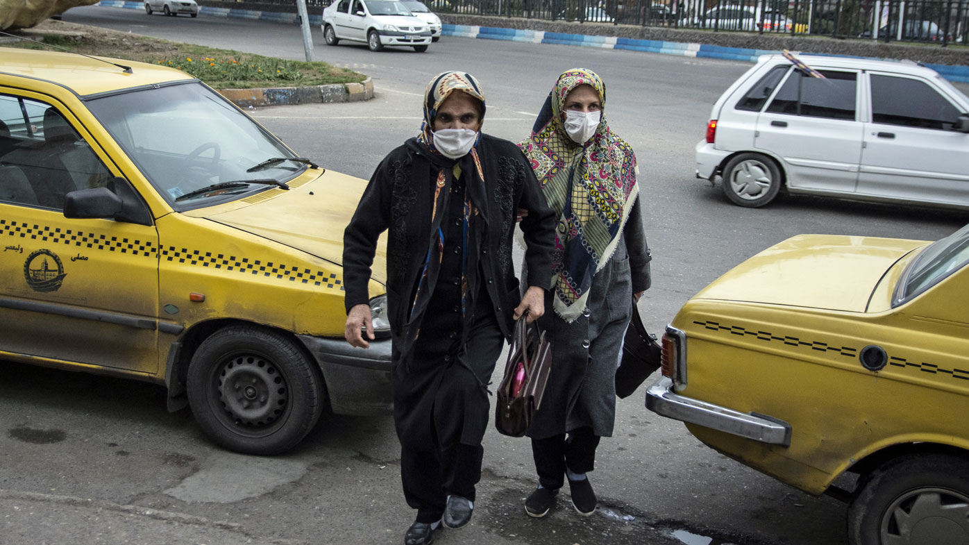 Women wear face masks as a precaution against the outbreak of Coronavirus..With the spread of coronavirus in the world, the virus has hit Iran and Qom, Rasht has the highest number of people with coronavirus in Iran. Currently schools and universities in Gilan province are closed and people move less in the city.