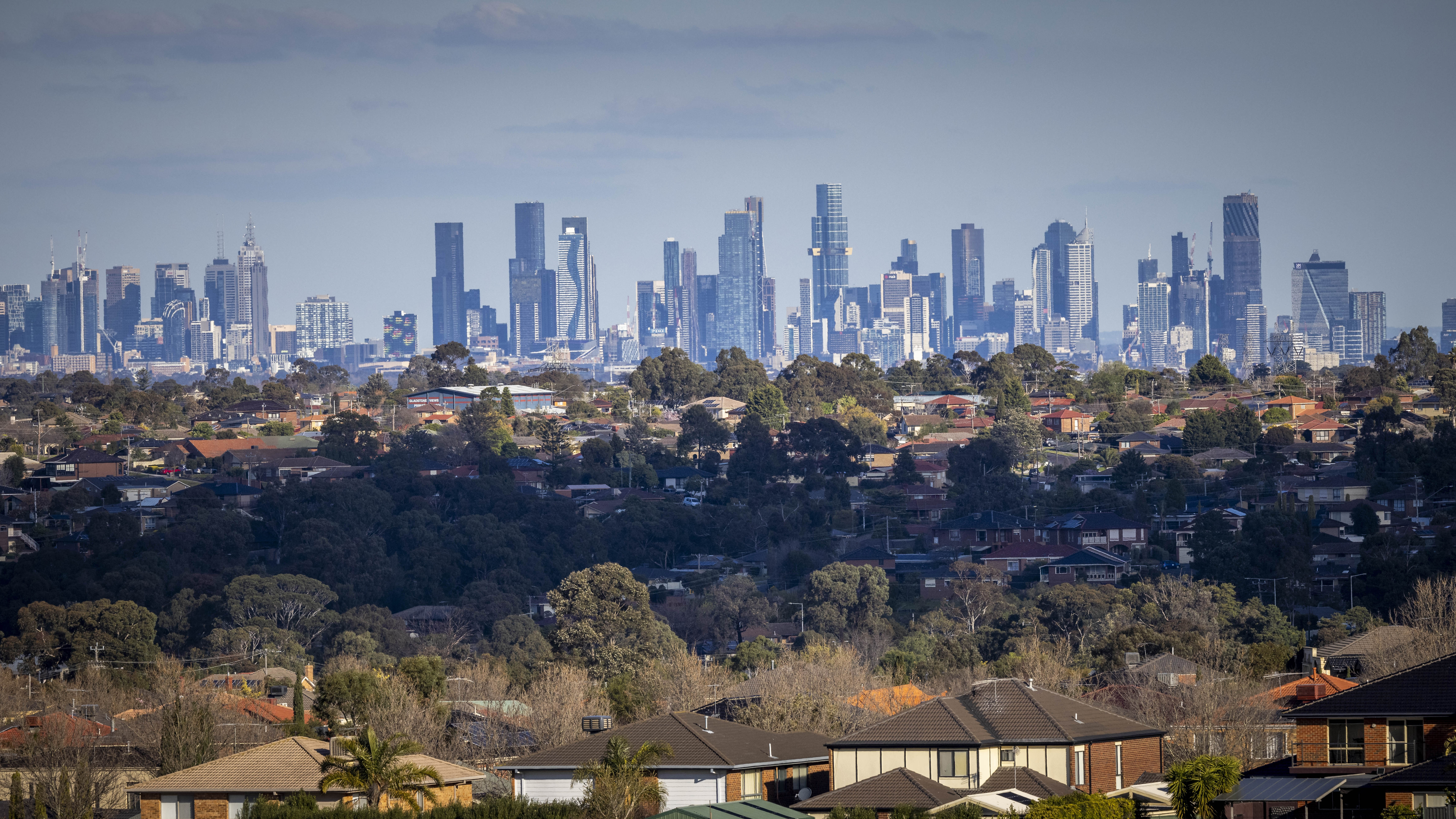 A view of the Melbourne skyline as seen from Gellibrand Hill Summit, Greenvale.