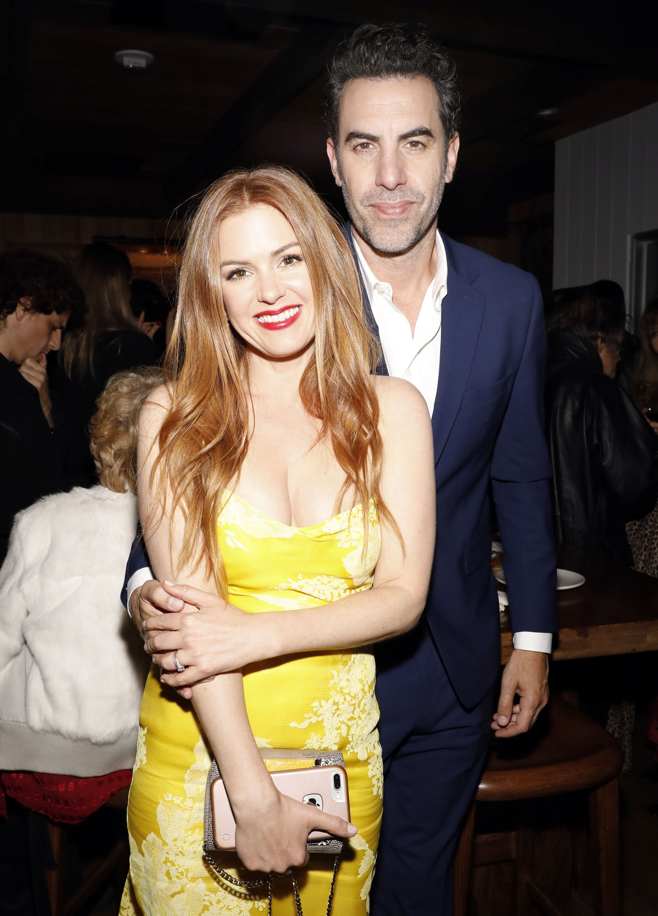 Sacha Baron Cohen and Isla Fisher at Estrella on January 6, 2017 in West Hollywood, California.