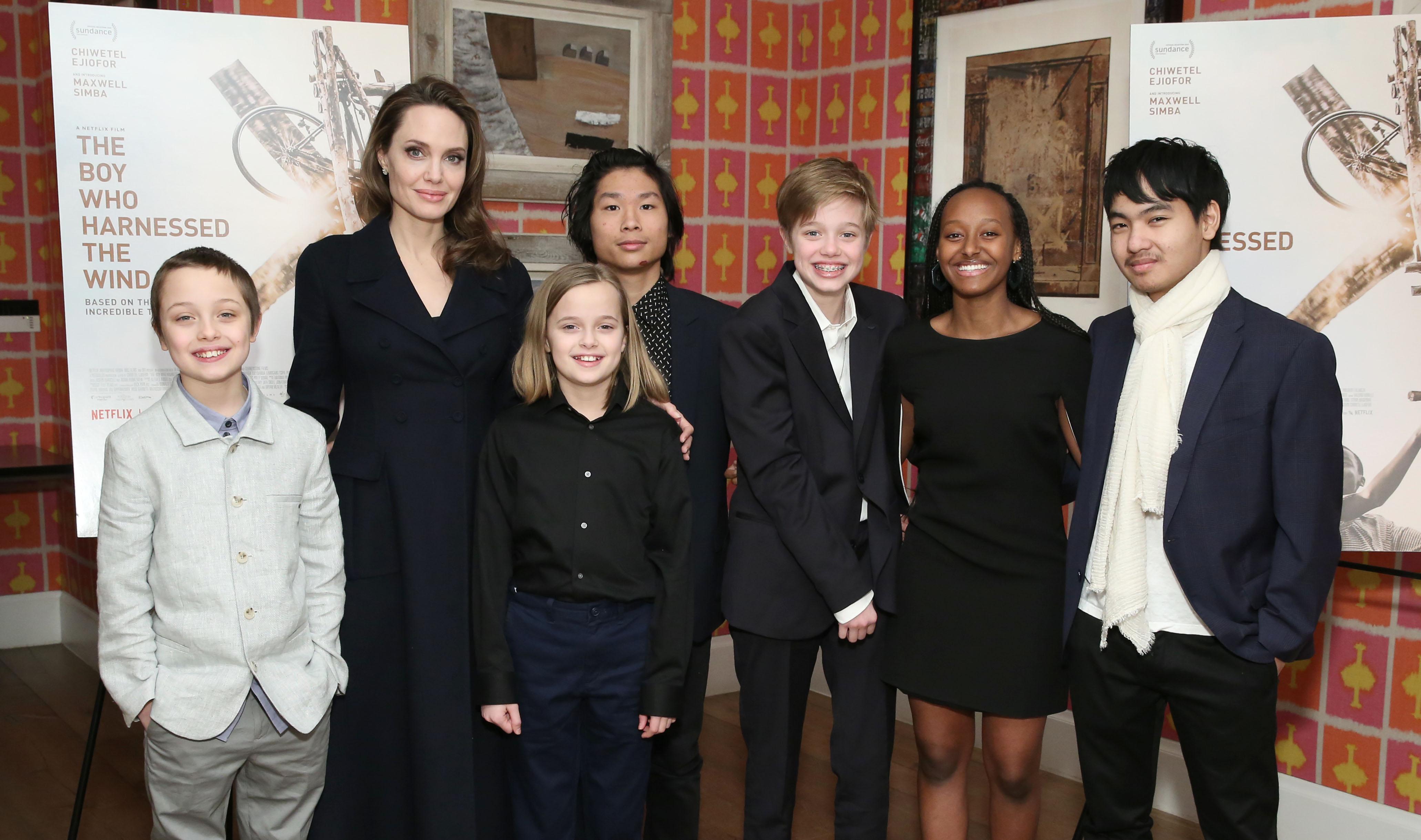 Angelina Jolie with children Knox Leon Jolie-Pitt, Vivienne Marcheline Jolie-Pitt, Pax Thien Jolie-Pitt, Shiloh Nouvel Jolie-Pitt, Zahara Marley Jolie-Pitt and Maddox Chivan Jolie-Pitt