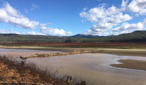 The Wollondilly Bridge can now be seen above the water in the Warragamba catchment.