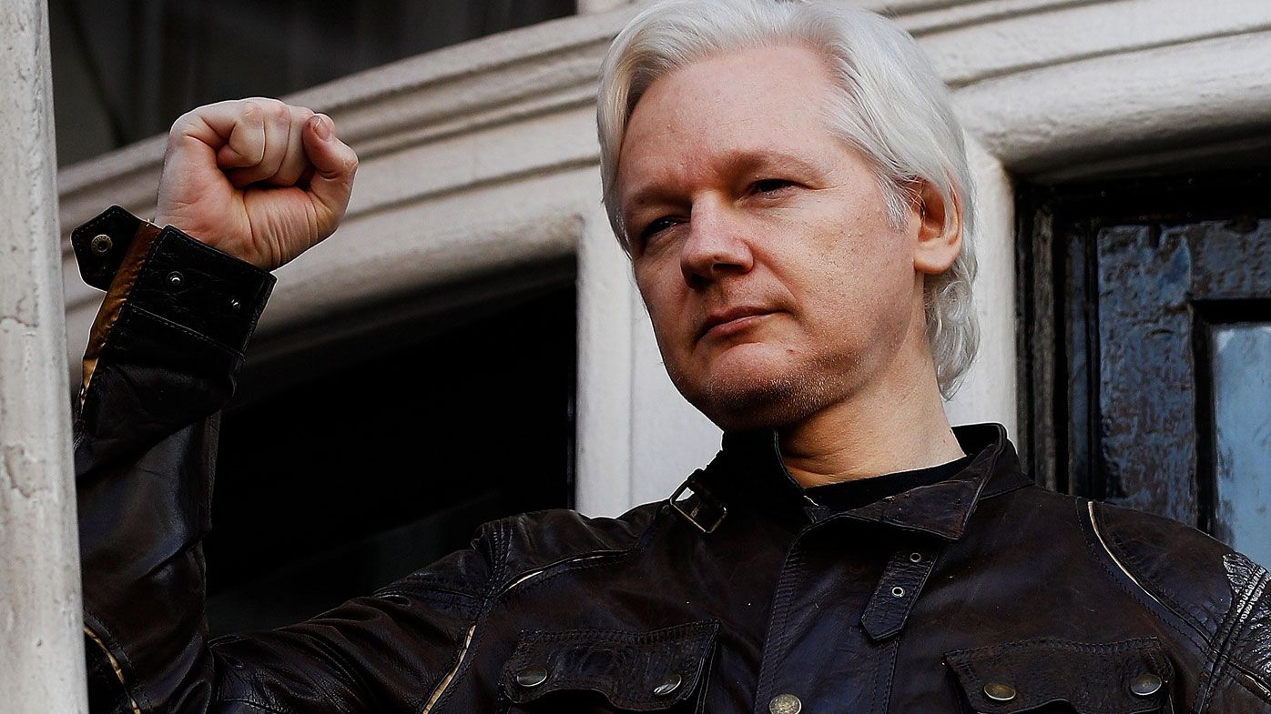 WikiLeaks founder Julian Assange is seen on the balcony of the Ecuadorian Embassy in London, Britain, May 19, 2017.