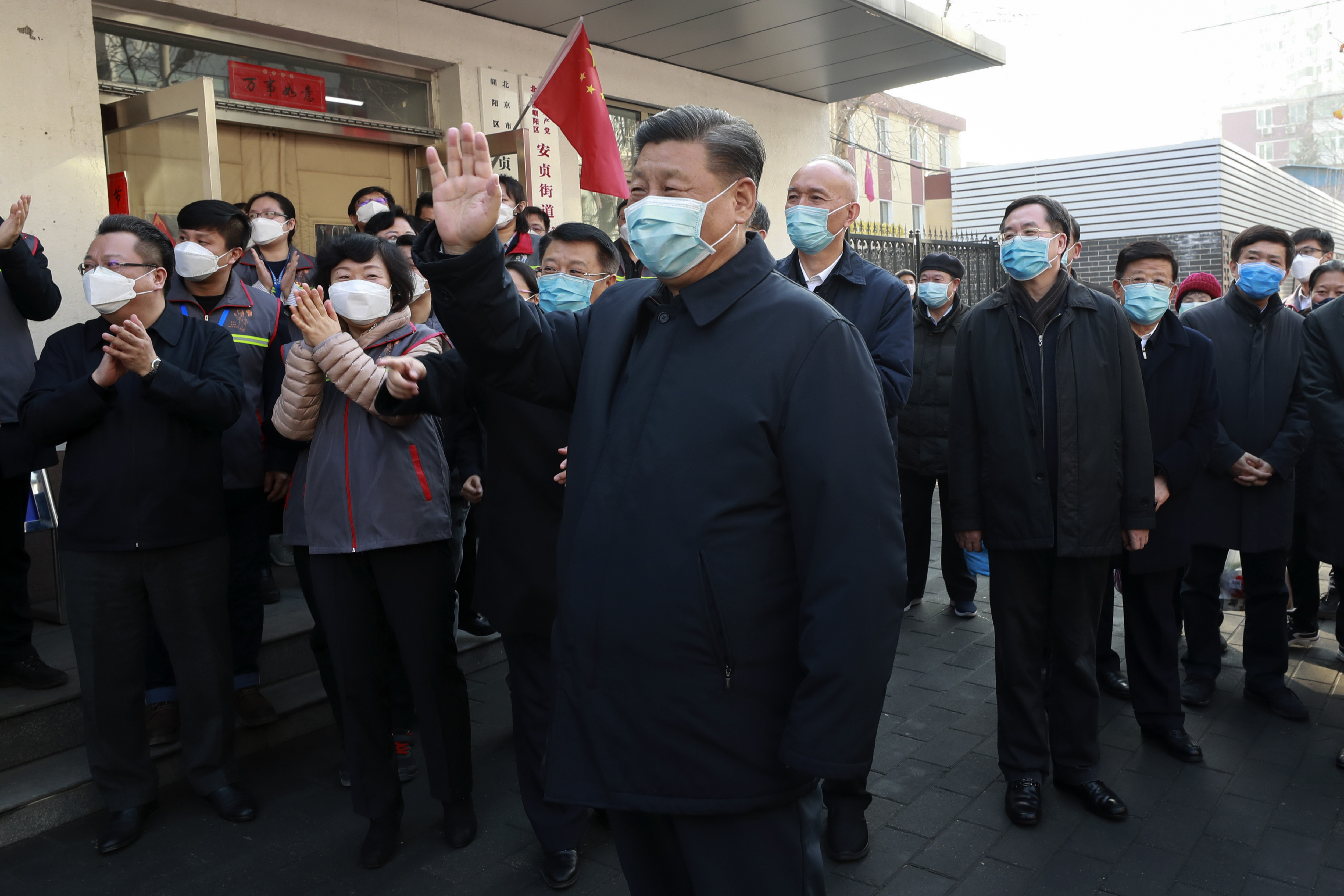 President Xi Jinping has made a rare public appearance at a hospital in Beijing.
