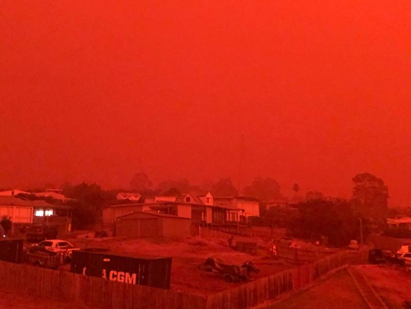 Images of the eerie red sky above Mallacoota were beamed around the world.