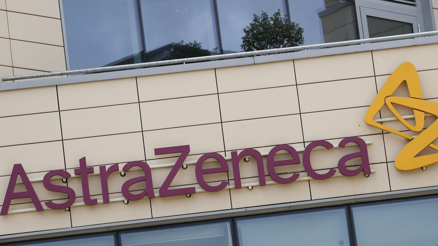 A general view of AstraZeneca offices and the corporate logo in Cambridge, England (Photo: July 2020)