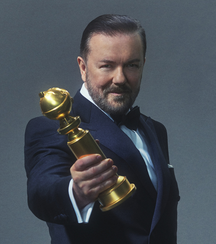 Golden Globes, Ricky Gervais, host, trophy