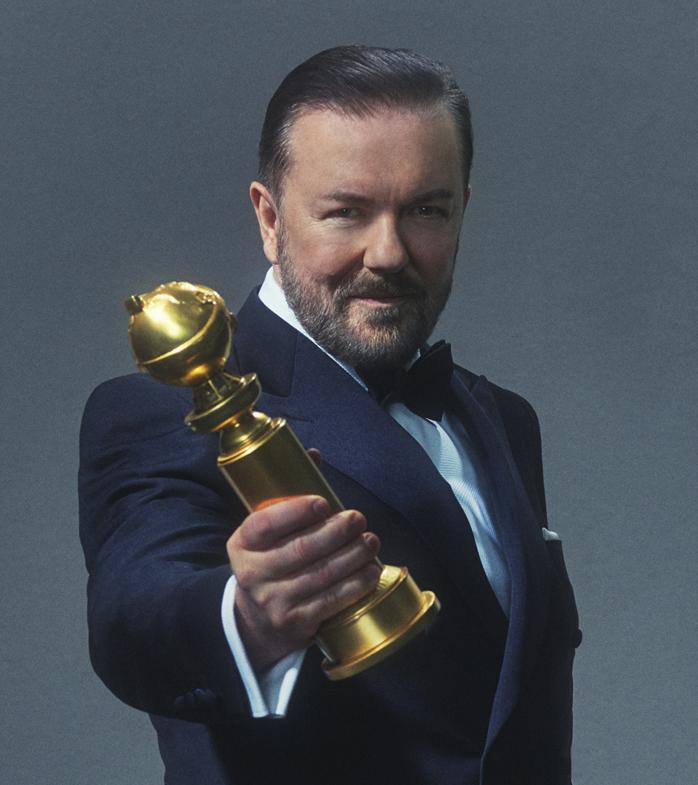 Golden Globes, Ricky Gervais, host, trophy