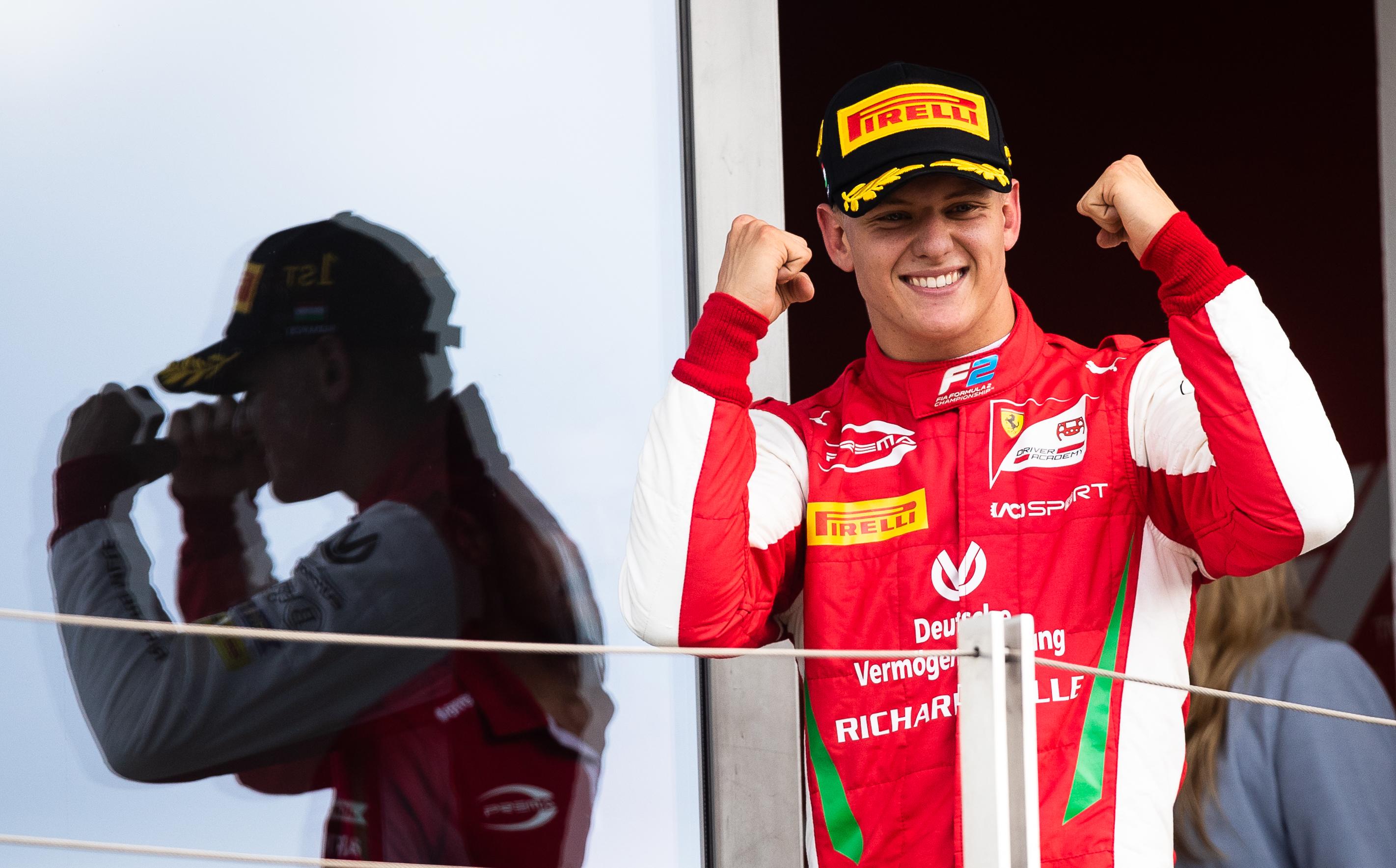 Mick Schumacher celebrates at the Formula 2 Grand Prix at Hungaroring.