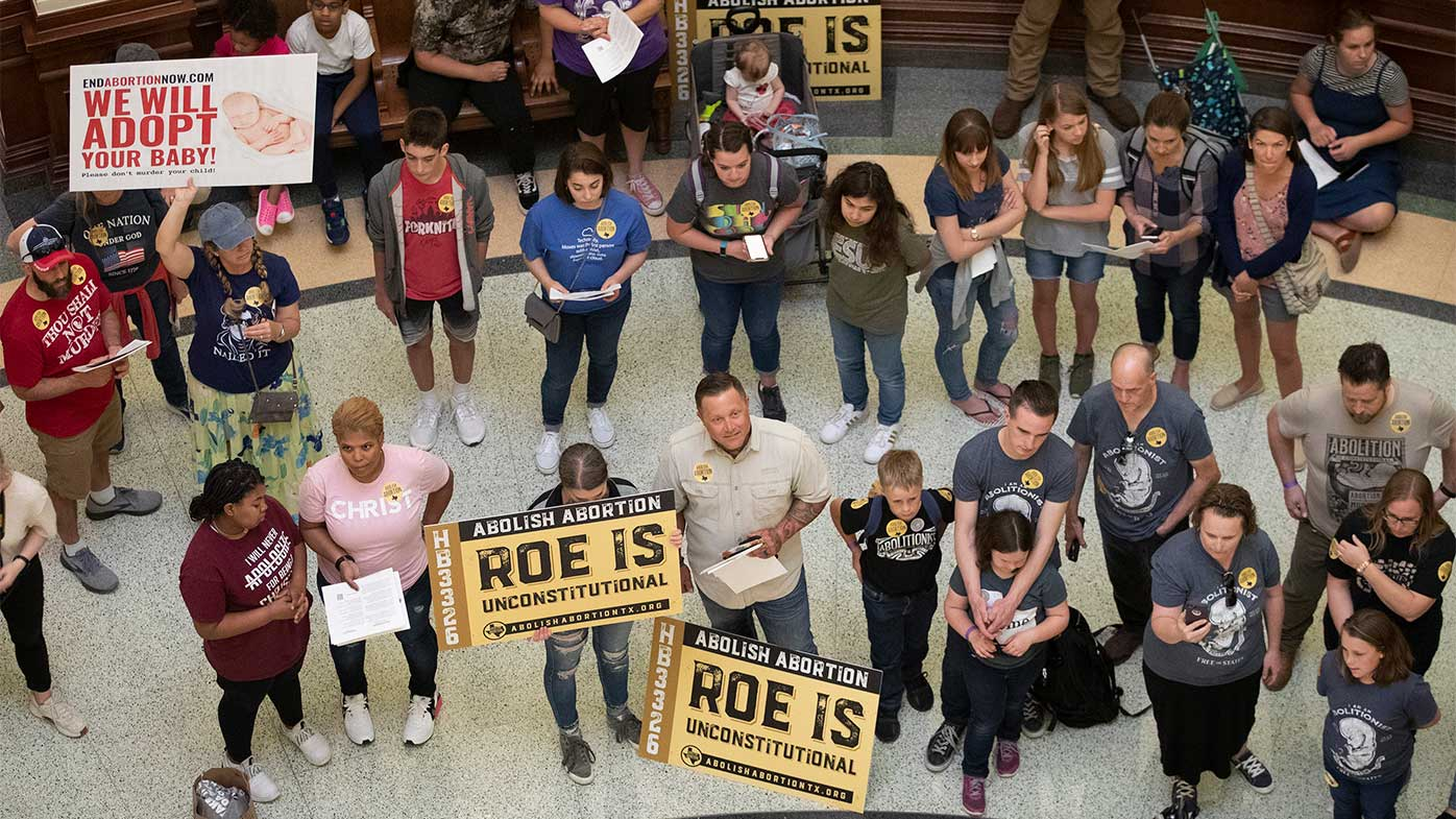 Anti-abortion protesters lobbying for the procedure to be banned in the state of Texas.