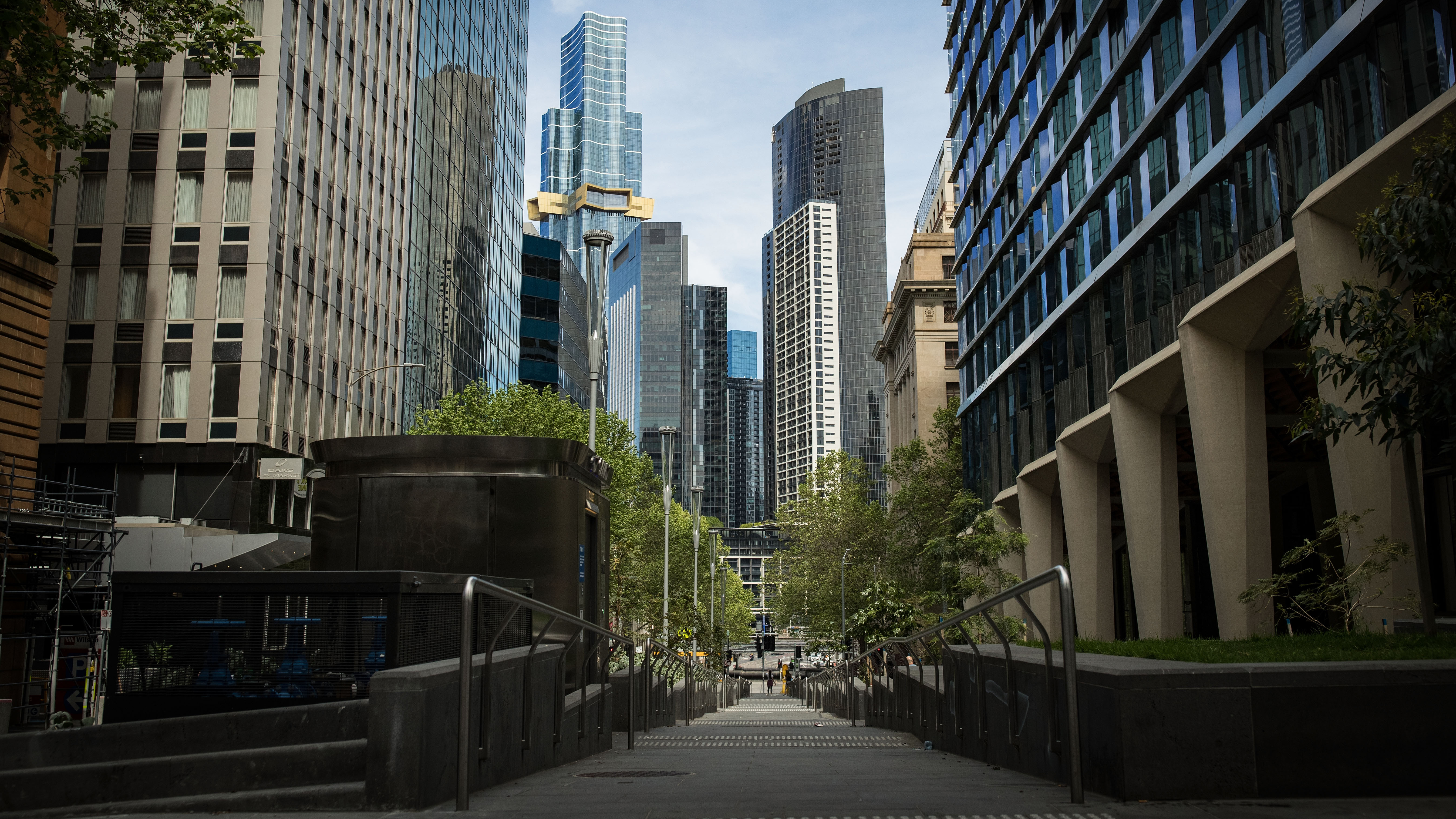 A quiet Market Street in Melbourne.
