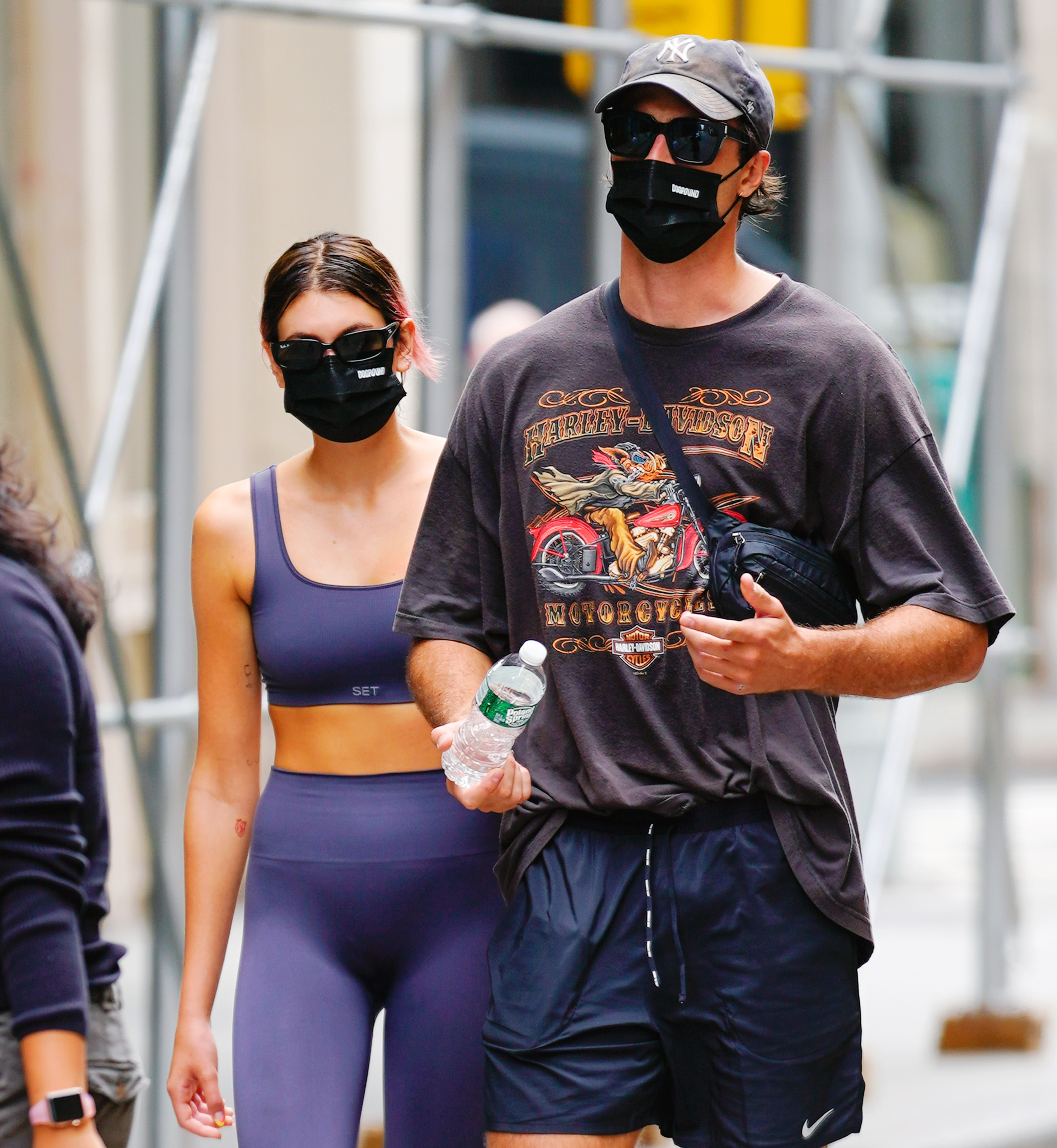Kaia Gerber and Jacob Elordi come back from the gym on September 09, 2020 in New York City.