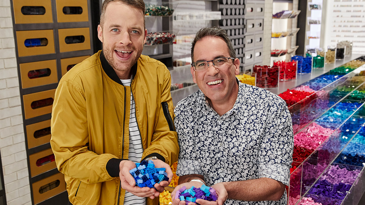 Lego Masters 2019 Hamish Blake and Brickman are on the hunt