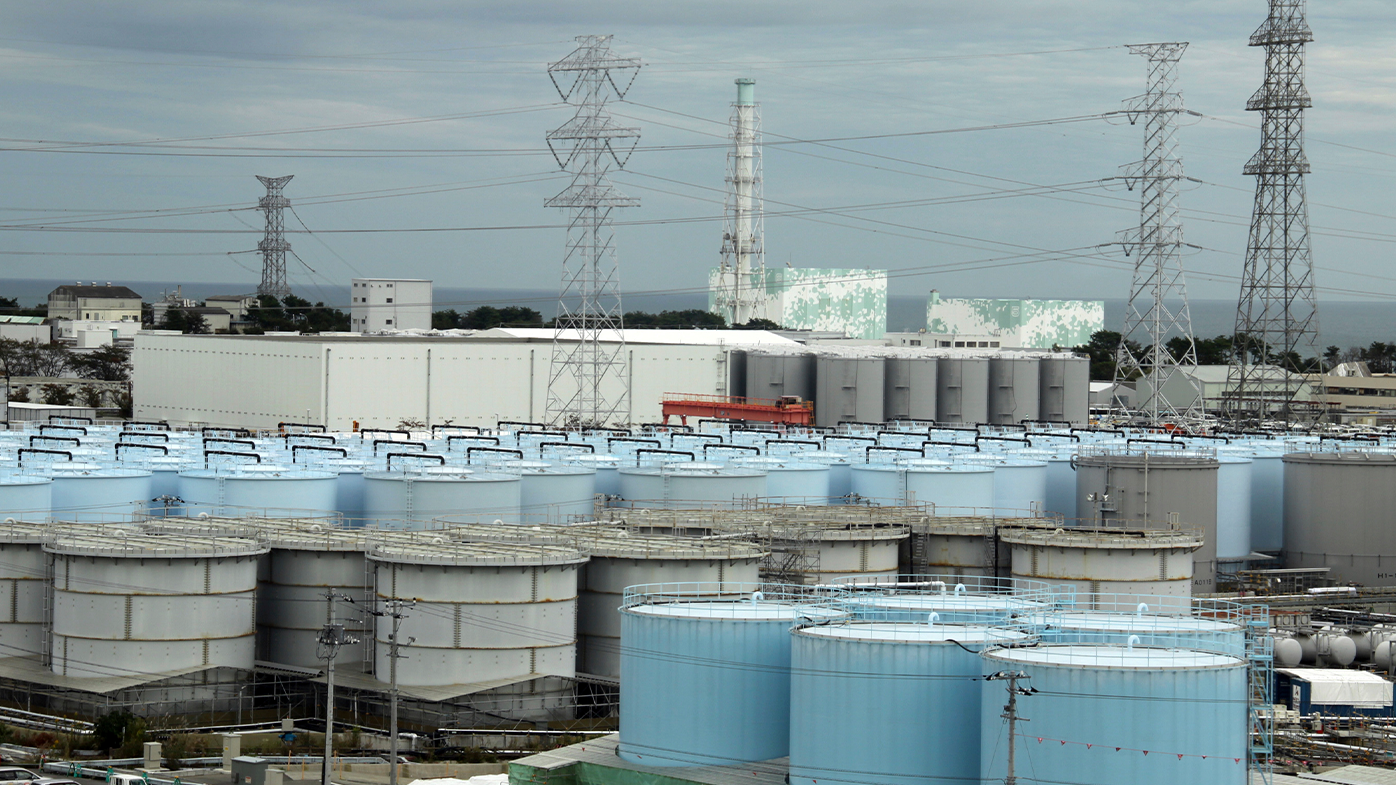 An ever-growing amount of contaminated, treated but still slightly radioactive, water at the wrecked Fukushima Dai-ichi nuclear plant is stored in about 900 huge tanks, including those seen in this photo taken during a plant tour at Fukushima Daiichi Nuclear Power Plant in Okuma, Fukushima prefecture, on October 12, 2017.