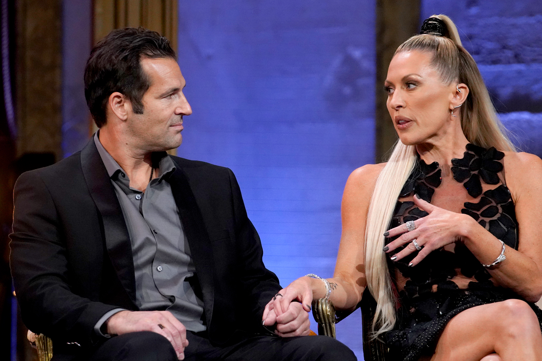 Braunwyn Windham-Burke and husband Sean Burke field questions during The Real Housewives of Orange County reunion special.