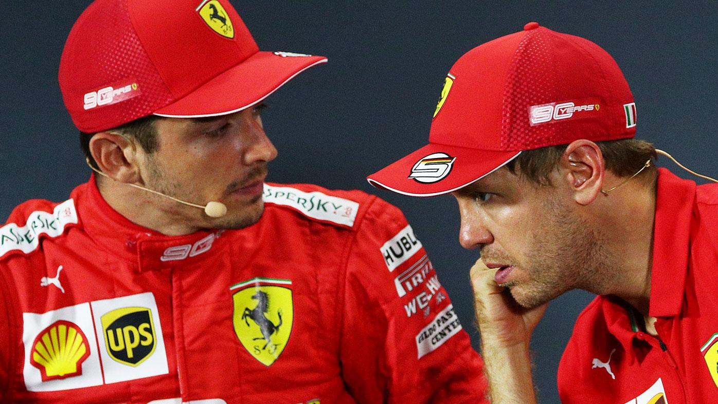 Ferrari teammates Charles Leclerc (left) and Sebastian Vettel.