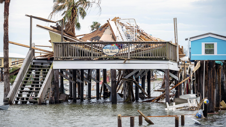 Destruction in the aftermath of Hurricane Ida in Grand Isle, Louisiana.