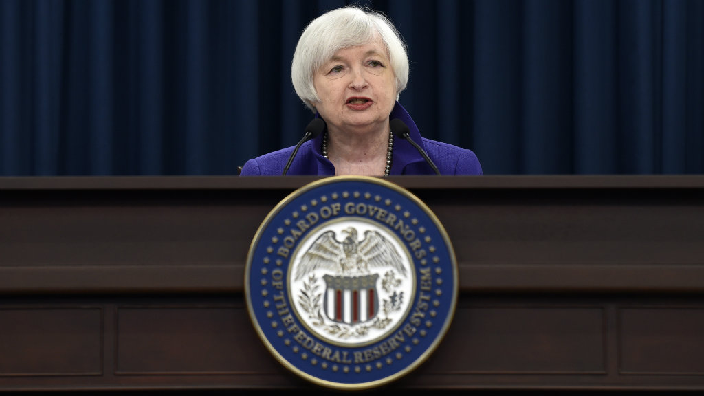 US Federal Reserve committee chair Janet Yellen explains the decision in Washington, D.C. (AAP)
