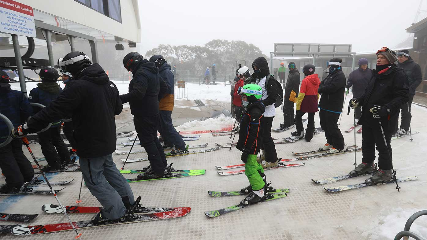 Patrons line up to get on the ski lift at Mt Buller Ski Resort earlier this week.