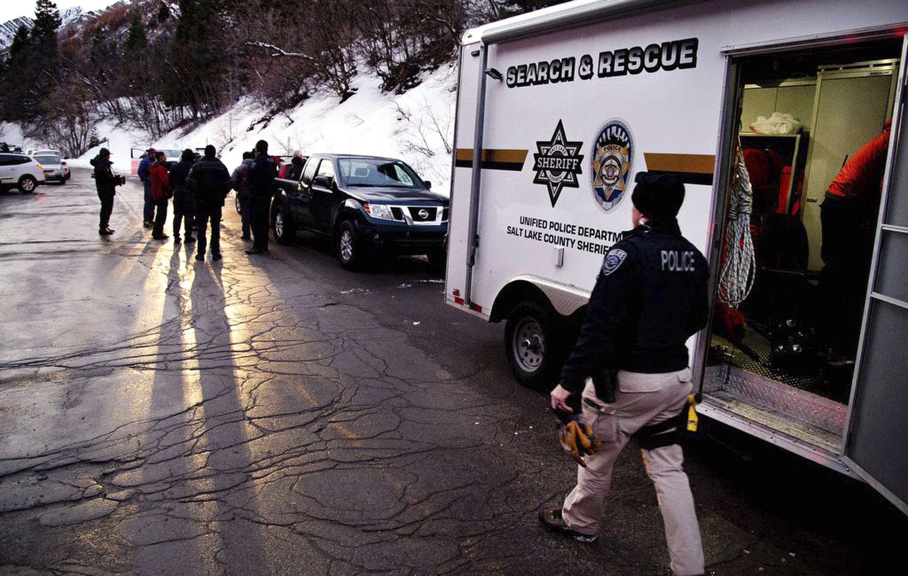 Salt Lake County Sheriff Search and Rescue crews respond to the top of Millcreek Canyon where four skiers died in an avalanche Saturday, Febuary 6, 2021, near Salt Lake City.