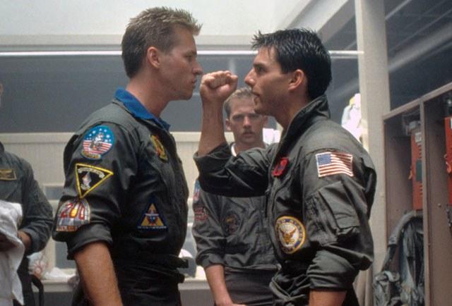 Tom Cruise and Val Kilmer on Top Gun.
