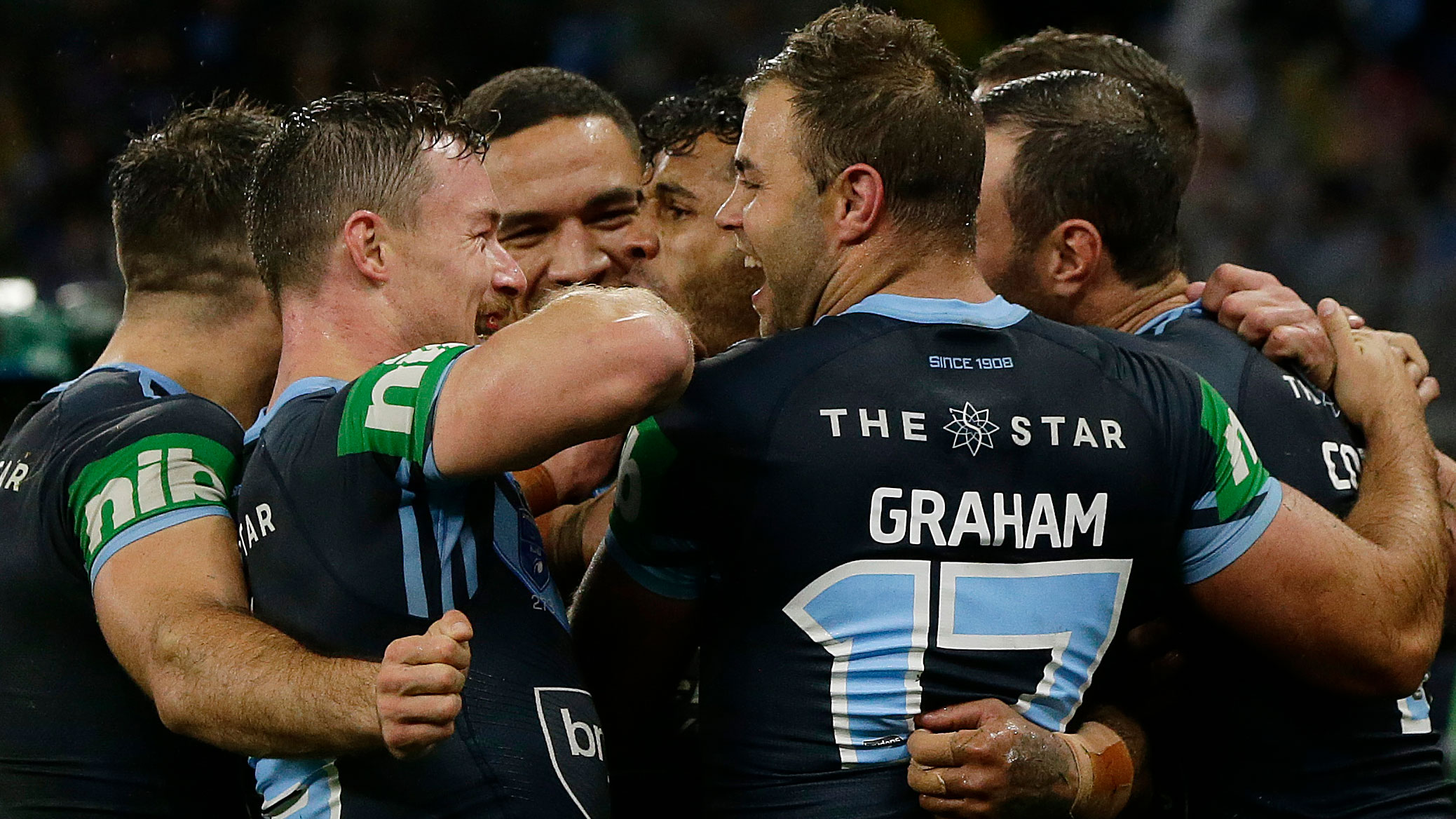 Wade Graham and the NSW team celebrates.