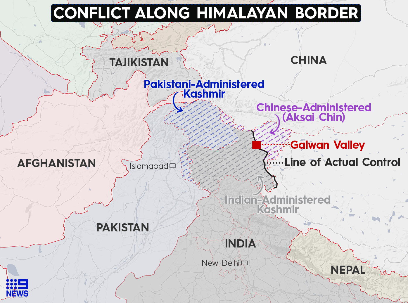 Map showing the area where tensions are running high between China and India.