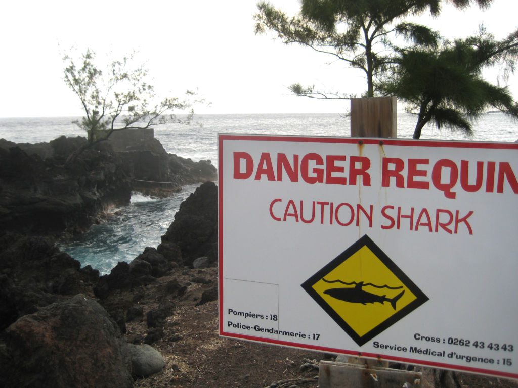 A sign warns prospective swimmers of the danger of sharks on the shores of La Réunion.